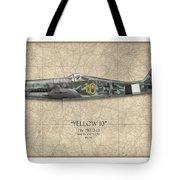 Yellow 10 Focke-wulf Fw190d - Map Background Tote Bag