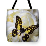 Yellow And Black Butterfly Tote Bag