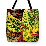 Yellow And Green Croton Tote Bag