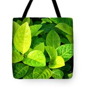 Yellow And Green Leaves Tote Bag