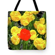 Yellow And One Red Tulip Tote Bag