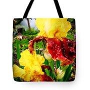 Yellow And Purple Iris Tote Bag