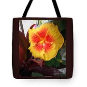 Yellow And Red Hibiscus Tote Bag