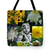 Yellow And White Flower Collage Tote Bag