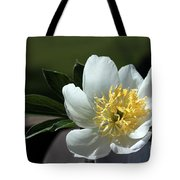 Yellow And White Peony Flower Tote Bag