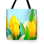 Yellow And White Tulips Tote Bag