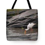 Yellow-billed Stork Fishing In River Tote Bag