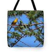 Yellow Bird In A Juniper Tree Tote Bag
