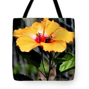 Yellow Bumble Bee Flower Tote Bag