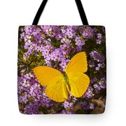 Yellow Butterfly On Pink Flowers Tote Bag