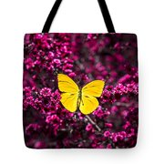 Yellow Butterfly On Red Flowering Bush Tote Bag