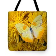 Yellow Butterfly On Yellow Mums Tote Bag