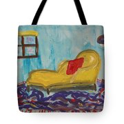 Yellow Chaise-red Pillow Tote Bag