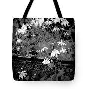 Yellow Coneflowers Echinacea Wrought Iron Gate Bw Tote Bag