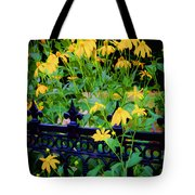 Yellow Coneflowers Echinacea Wrought Iron Gate Tote Bag by Rich Franco