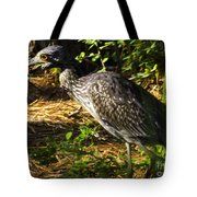 Yellow-crowned Night Heron Eating A Fiddler Crab Dinner Tote Bag