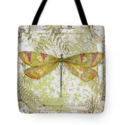 Yellow Dragonfly On Vintage Tin Tote Bag