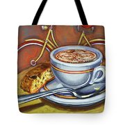 Yellow Dutch Bicycle With Cappuccino And Biscotti Tote Bag