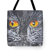 Yellow Eyed Black Cat Tote Bag