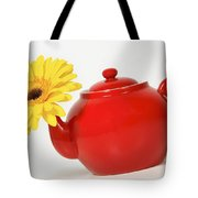 Yellow Flower In A Red Teapot Tote Bag