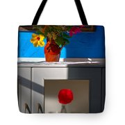 Yellow Flower In A Vase Of Clay. Tote Bag