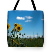 Yellow Flower On Blue Sky Tote Bag