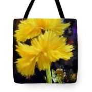 Yellow Flower With Splatter Background Tote Bag