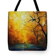 Yellow Fog 2 - Palette Knife Oil Painting On Canvas By Leonid Afremov Tote Bag