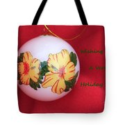 Yellow Hibiscus Christmas Bulb Tote Bag