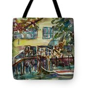Yellow House By The River Tote Bag