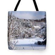 Yellow House In Winter Tote Bag