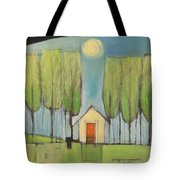 Yellow House In Woods Tote Bag