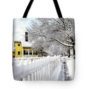 Yellow House With Snow Covered Picket Fence Tote Bag