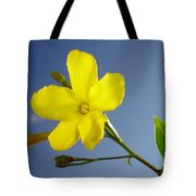 Yellow Jasmine Flower And Bud Against Blue Sky Tote Bag