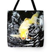 Yellow Koi - Black And White Art Tote Bag