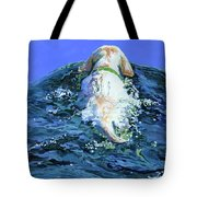Yellow Lab  Blue Wake Tote Bag