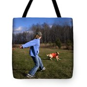 Yellow Labrador And Girl Tote Bag by Linda Freshwaters Arndt