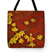Yellow Leaves On Red Brick Tote Bag