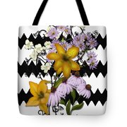 Yellow Lilies On Black And White Zigzag Tote Bag