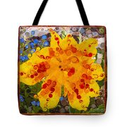 Yellow Lily With Streaks Of Red Abstract Painting Flower Art Tote Bag