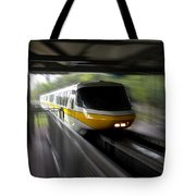 Yellow Monorail Entering The Station 02 Tote Bag
