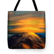 Yellow Mountaintop Hugged By Yellow Cloud  Tote Bag