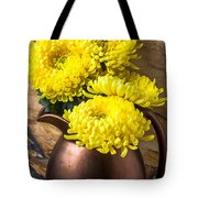 Yellow Mums In Copper Vase Tote Bag