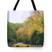 Yellow Nyc Taxi Driving Through Central Park Usa Tote Bag