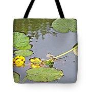 Yellow Pond Lilies On Lake Yellowhead Along Yellowhead Highway-b Tote Bag