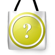 Yellow Question Mark Round Button Tote Bag