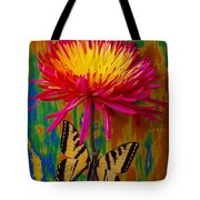 Yellow Red Mum With Yellow Black Butterfly Tote Bag