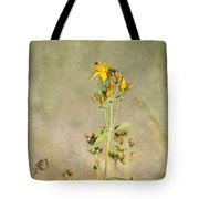 Yellow-red Wildflower With Texture Tote Bag