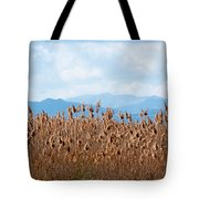 Yellow Reeds And Blue Mountains Tote Bag