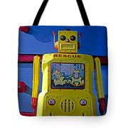 Yellow Robot In Front Of Drawers Tote Bag